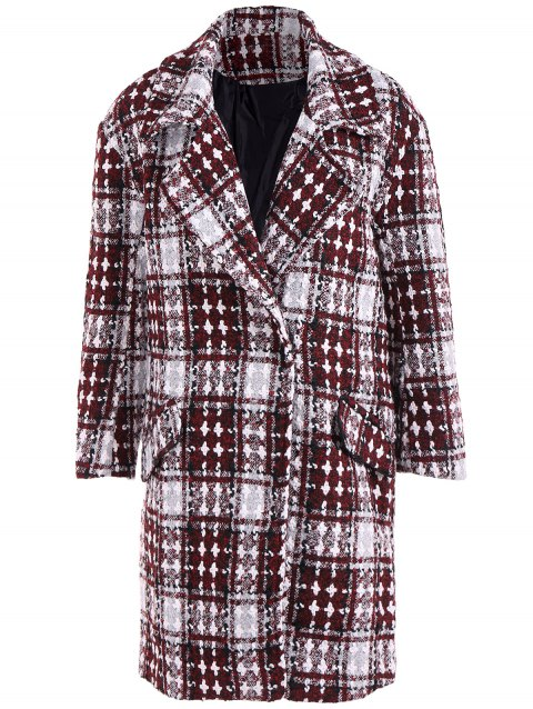 Snap Button Cross Plaid Coat - WINE RED 2XL