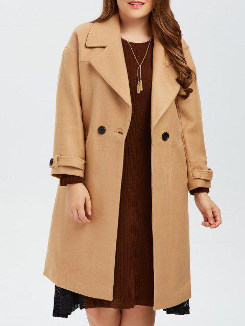 56a7910191e8c 17% OFF] 2019 Plus Size Buttoned Wool Blend Longline Coat In CAMEL ...