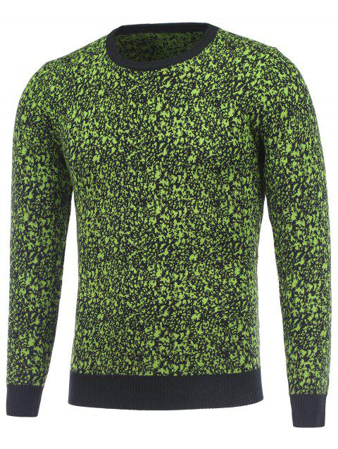 Round Neck Long Sleeve Texture Pullover Sweater - GREEN 3XL