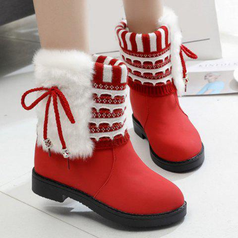 Knit Insert Faux Fur Short Boots - RED 37