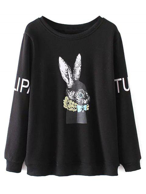 Plus Size Crew Neck Rabbit Print Sweatshirt - BLACK XL