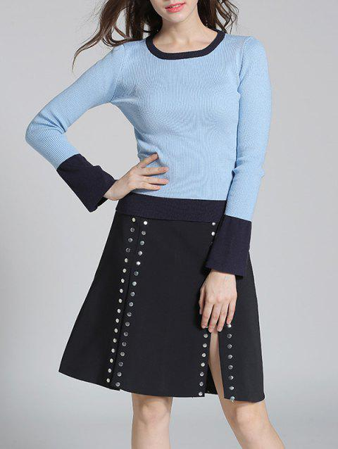 Slit Skirt and Pullover Sweater - WINDSOR BLUE M