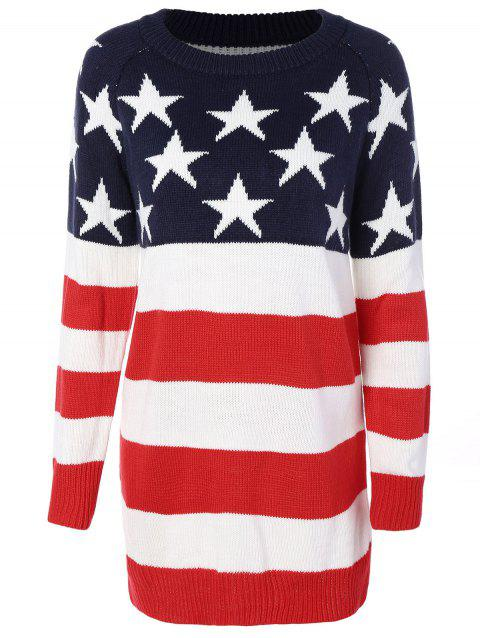 Flag Patterned Crew Neck Sweater Tunique - Rouge et blanc et bleu S