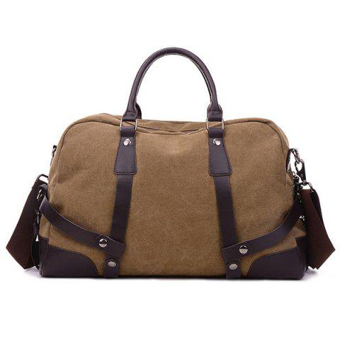 Zip Canvas Weekender Bag - BROWN