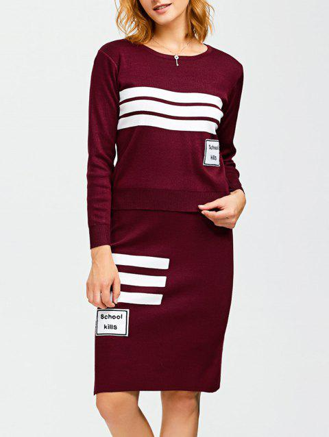 Striped Jacquard Sweater and Slit Skirt - WINE RED ONE SIZE