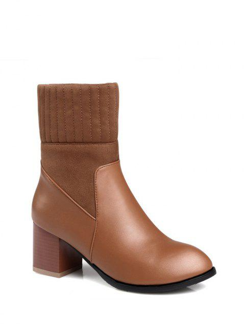 Chunky Heel Suede Panel Short Boots - BROWN 37