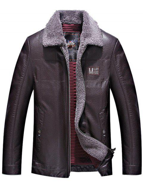 Turndown Collar Zipper Up Patch PU Leather Jacket - PURPLISH RED L