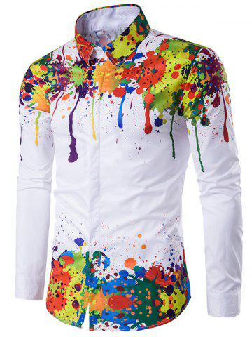 d4b8dfdd950 Turndown Collar Colorful Splatter Paint Pattern Long Sleeve Shirt