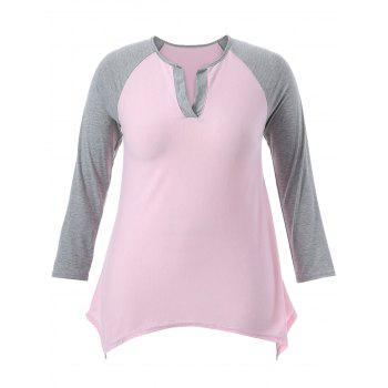 Casual Color Block Asymmetric T-Shirt