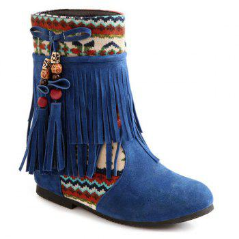 Blue Suede Fringe Boots Cheap Casual Style Online Free Shipping at ...