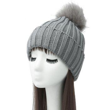 Pom Ball Flanging Knitted Beanie