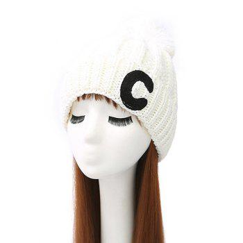 Pom Ball Letter C Knitted Beanie
