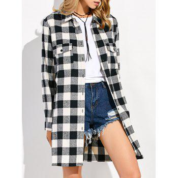 Gingham Plaid Long Flannel Shirt