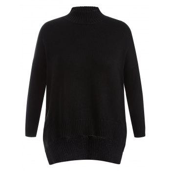 Plus Size High Low Drop Shoulder Sweater