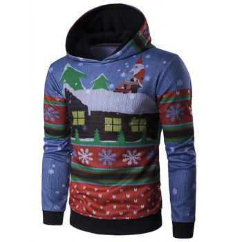 Father Christmas and House Print Long Sleeve Hoodie