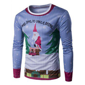 Long Sleeve 3D Father Christmas and Roof Print T-Shirt