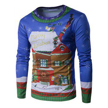 Long Sleeve 3D Christmas House and Elfin Print T-Shirt