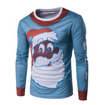 Long Sleeve 3D Father Christmas Print T-Shirt