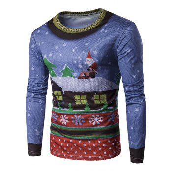 Long Sleeve 3D Father Christmas and Roof Printed T-Shirt