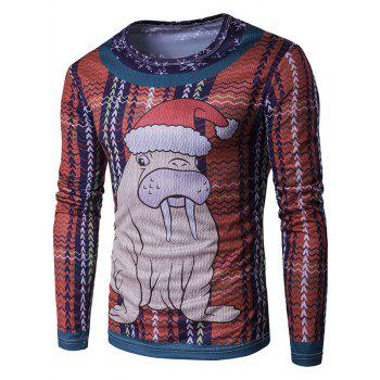 Long Sleeve 3D Christmas Sea Lion Cartoon Print T-Shirt