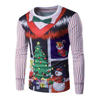 Buy Long Sleeve 3D Christmas Bow Tie Costume Faux Twinset Print T-Shirt COLORMIX