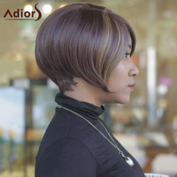 Trendy Side Bang Straight Capless Dark Brown Highlight Synthetic Women's Short Wig - COLORMIX