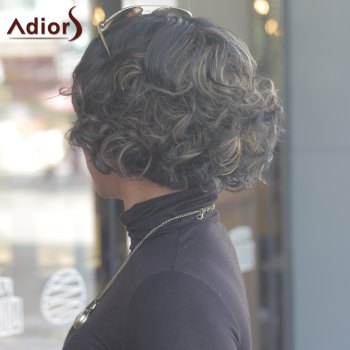 Prevailing Women's Short Curly Mixed Color Side Bang Synthetic Wig - COLORMIX