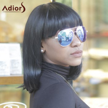 Unprocessed Women's Medium Straight Full Bang Black Synthetic Hair Wig - BLACK