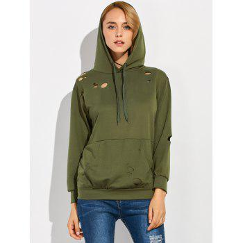 Pocket Hole Ripped Hoodie