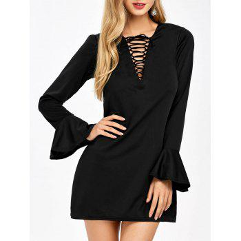 Bell Sleeve  Mini Lace Up Plunge Dress
