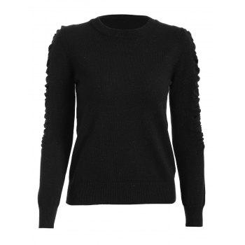 Ruched Crew Neck Knit Sweater