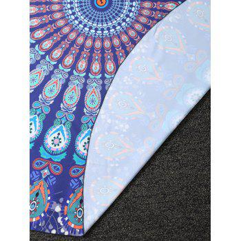 Tribal Totem Printed Round Beach Throw - PEACOCK BLUE ONE SIZE