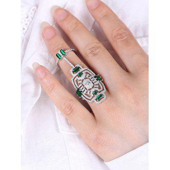 Rhinestoned Engraved Geometric Hollow Out Ring