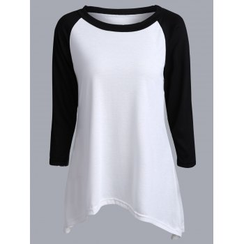 Asymmetrical Two Tone Raglan Sleeve T-Shirt