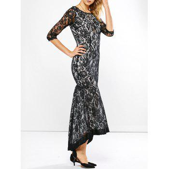 High Low Fishtail Lace Formal Dress with Sleeve