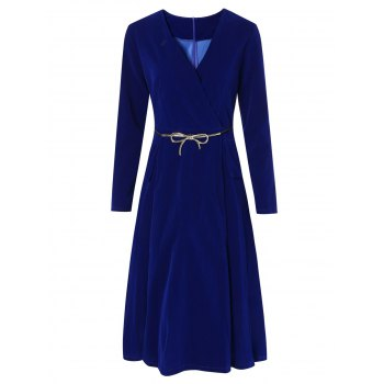 V-Neck Velvet Midi Dress with Belt