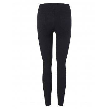 High Waist Elastic Skinny Leg Ninth Pants - BLACK M