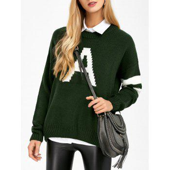 Letter A Striped Drop Shoulder Sweater