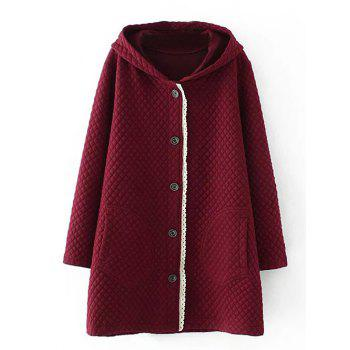 Plus Size Quilted Long Jacket with Hood