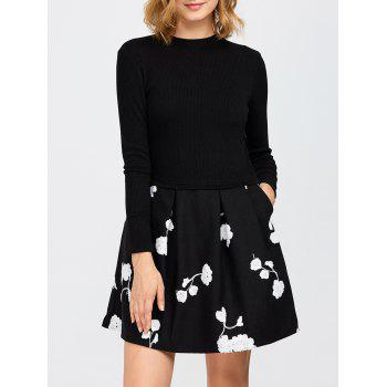 Long Sleeve Flower Knitted Mini Dress