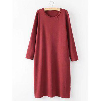 Casual Plus Size Long Sleeve Midi Shift Dress