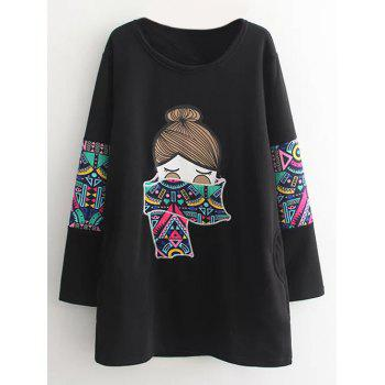 Plus Size Crew Neck Cartoon Sweatshirt