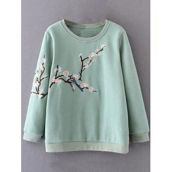 Plus Size Embroidered Crew Neck Green Sweatshirt