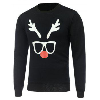 Crew Neck Christmas Deer Horn Print Sweatshirt
