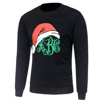 Crew Neck Christmas Hat Print Sweatshirt