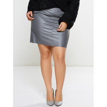 Embellished Faux Leather Skirt