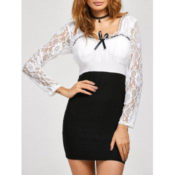 Lace Insert Backless Bodycon Dress