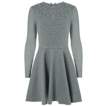 Long Sleeve Embellished Flat and Flare Dress