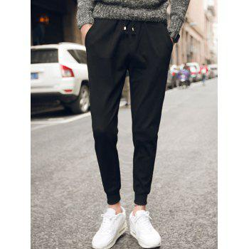 Plus Size Lace Up Beam Feet Polyester Jogger Pants