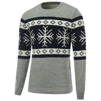 Crew Neck Snowflake Christmas Sweater